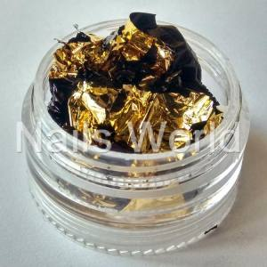 Фольга жатая в банке золото-черная