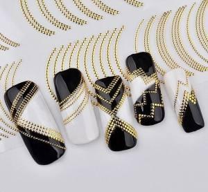 3D гибкие ленты наклейки зигзаг микс из точек золото