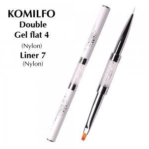 Кисть Komilfo Double Gel flat 4 (Nylon)/Liner 7 (Nylon)