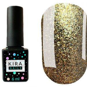 Гель-лак Kira Nails 24 Karat №005 (жёлтое золото с большим количеством блесток), 6 мл