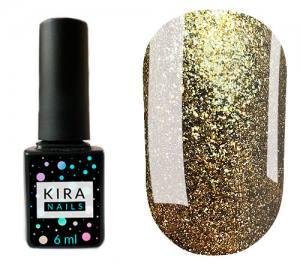 Гель-лак Kira Nails 24 Karat №004 (золото с большим количеством блесток), 6 мл