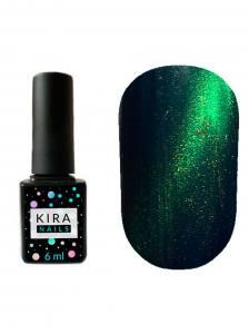Гель-лак Kira Nails Cat Eye №005 (сине-зеленый, магнитный), 6 мл