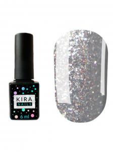 Гель-лак Kira Nails Shine Bright №004 (темное серебро с мелкими красными блестками), 6 мл