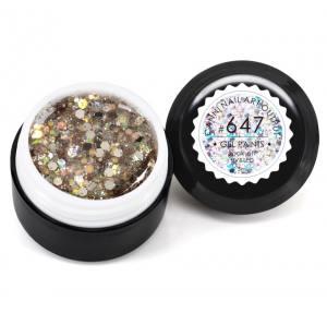 Гель-краска CANNI 647 прозрачная, блестки золото голографическое, 5 ml