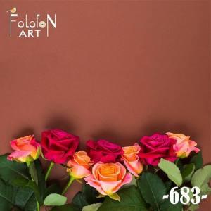 Фотофон вініловий 30см/30см  №683 Троянди на коричневому фоні