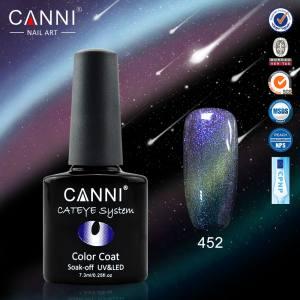 Гель-лак Canni хамелеон кошачий глаз №452 (бирюзово-голубой с салатовым бликом, магнитный, хамелеон), 7.3 мл