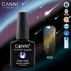 Гель-лак CANNI Chameleon Cat Eye №454 (бирюзово-голубо-серо-золотистый, магнитный, хамелеон), 7.3 мл