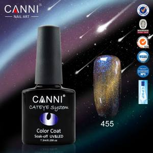 Гель-лак CANNI Chameleon Cat Eye №455 (бирюзово-сине-серо-золотистый, магнитный, хамелеон), 7.3 мл