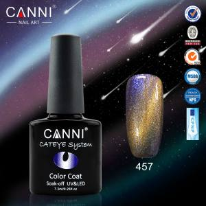 Гель-лак Canni хамелеон кошачий глаз №457 (сине-бирюзово-фиолетово-золотистый, магнитный, хамелеон), 7.3 мл