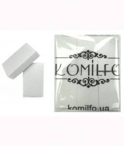 Набор шлифовщиков 50*30*12 мм белый 120/120 для ногтей Komilfo (24 шт. в пачке)