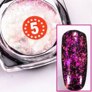 Хлопья Юки Beauty-Nail №5 ( фиолетовый, оранжевый, зеленый )