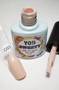 """Гель-лак YO!Nails """"SWEETY"""" № C03 (бледный бежево-розовый, эмаль), 8 мл"""