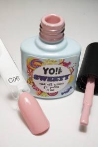 """Гель-лак YO!Nails """"SWEETY"""" № C06 (бледный светло-розовый, эмаль), 8 мл"""