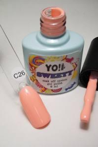 """Гель-лак YO!Nails """"SWEETY"""" № C26 (персиковый, эмаль), 8 мл"""