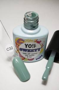 "Гель-лак YO!Nails ""SWEETY"" № C32 (светлый серо-зеленый, эмаль), 8 мл"