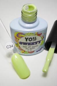 """Гель-лак YO!Nails """"SWEETY"""" № C34 (светлый травянисто-салатовый, эмаль), 8 мл"""