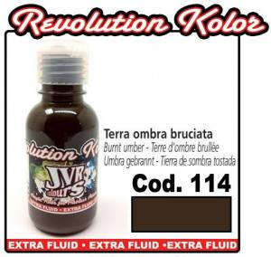 Краска для аэрографии JVR Revolution Kolor, opaque burnt umber #114,10ml, Темный шоколад