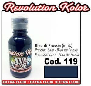 Краска для аэрографии JVR Revolution Kolor, opaque prussian blue #119, 10ml, Ярко-синяя