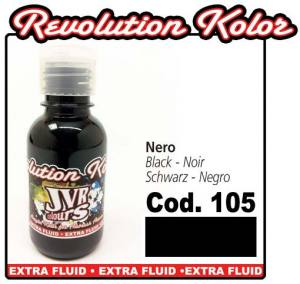 Краска для аэрографии JVR Revolution Kolor, opaque black #105,10ml,Черная