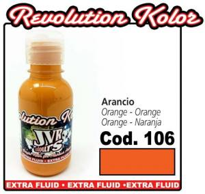 Краска для аэрографии JVR Revolution Kolor, opaque orange #106, 10ml, Оранжевая