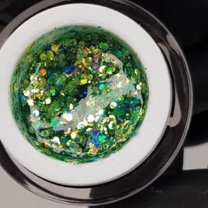 Глиттерный гель в баночке OXXI Hollywood 13 зеленая радуга с голографическим эффектом, 5 г