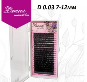 Реснички TM LAMOUR D 0.03 Растяжка 7-12 мм (20 линий)