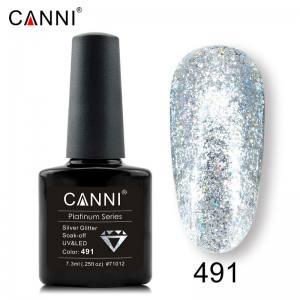 Гель-лак Canni Жидкая фольга №491, голографическое серебро