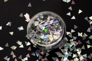 Камифубики (треугольники) для дизайна ногтей серебро голографические KT-01