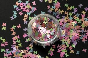 Камифубики (бабочки) для дизайна ногтей микс цветов KF-02