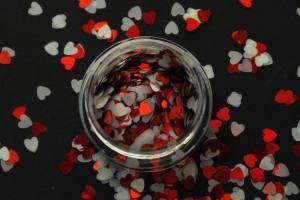 Камифубики (сердечки) конфетти красные и белые для дизайна ногтей KF-07