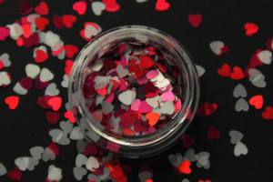 Камифубики (сердечки) конфетти розовые и белые для дизайна ногтей KF-06