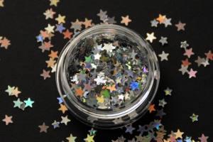 Камифубики (звезды) для дизайна ногтей серебро голографические микс размеров, KF-17