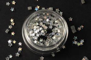 Камифубики (звезды) для дизайна ногтей серебро голографические 2 мм, KF-14
