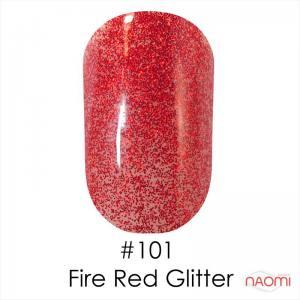 Гель-лак Naomi 101 Fire Red Glitter, 6 мл