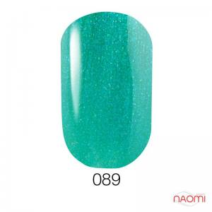 Гель-лак GO 089 зеленовато-голубой с перламутром и шиммерами, 5,8 мл