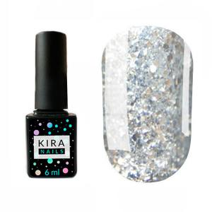 Гель-лак Kira Nails Shine Bright №002 (серебро с золотыми блестками), 6 мл