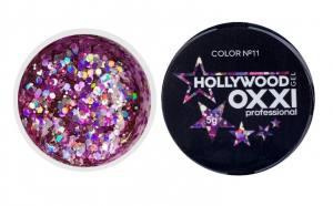 Глиттерный гель в баночке OXXI Hollywood 11 розовая радуга с голографическим эффектом, 5 г