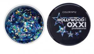 Глиттерный гель в баночке OXXI Hollywood 12 сине-голубая радуга с голографическим эффектом, 5 г