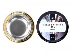 Гель-краска F.O.X Metal Painting Gel 001, цвет серебро, 5 мл