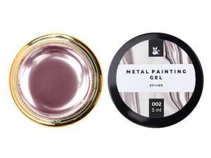 Гель-краска F.O.X Metal Painting Gel 002, цвет розовый, 5 мл