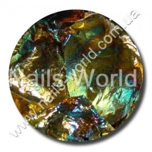 Фольга жатая в банке золото с темно-зеленым