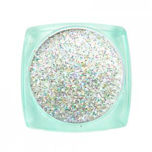 Komilfo блесточки Super Rainbow Series 603, размер 0,2 мм, 2,5 г белый с салатово-фиолетовым отливом