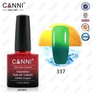 Термо гель-лак CANNI №337 (темно-бирюзовый, при нагревании - яркий салатовый), 7.3 мл