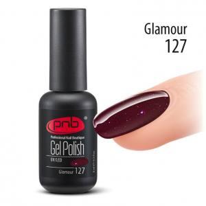 Гель-лак PNB №127 Glamour насыщенный вишнево-фиолетовый, с мелкими рубиново-фиолетовым блестками
