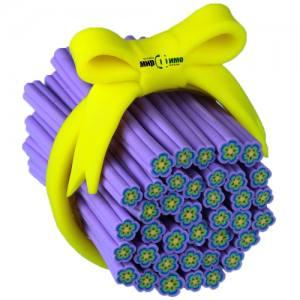 """Фимо штанга """"Фиолетовый цветок в этническом стиле"""""""