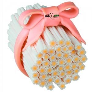 """Фимо палочка """"Белый цветок с оранжевой серединкой"""""""