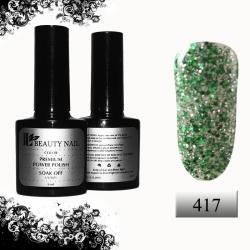 Гель-лак Premium Серебряные и зеленые блестки (8ml) 417