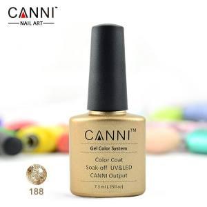 Гель-лак Canni №188 прозрачный с золотистыми блестками