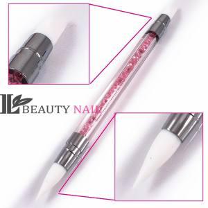 Кисть силиконовая Beauty nail Кристалл розовая