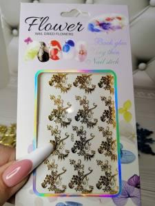 Наклейка для дизайна ногтей A007 кружевная роза золото